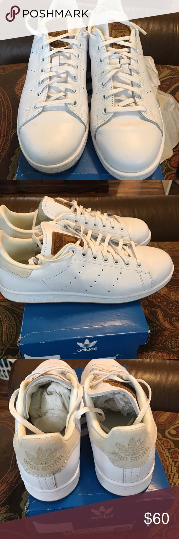 Like New Adidas  Originals Stan Smith Sneakers Like New Adidas Originals Stan Smith Sneakers.  Worn once. Signature Stan Smith Logo on the tongue and heel. Shoe runs a bit big. This size 10 would fit a 10.5 perfectly. adidas Shoes Sneakers