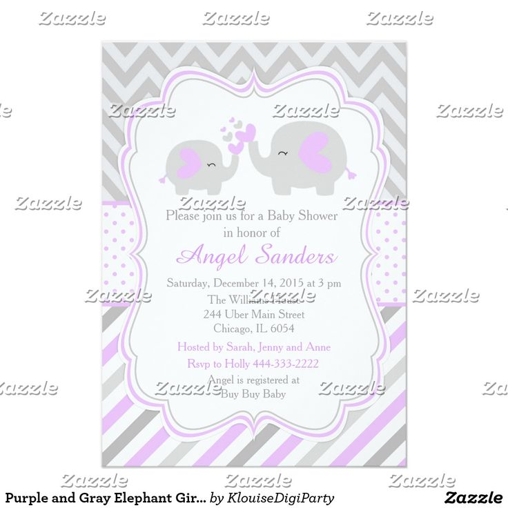 Purple and Gray Elephant Girl Baby Shower Card