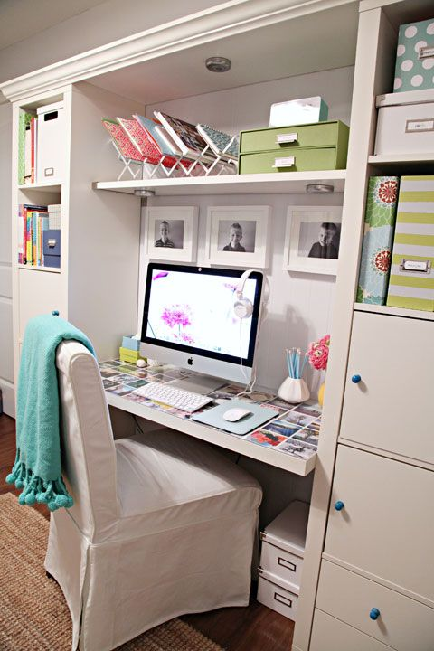 I love this work space!!! The shelf above the desktop, the desktop photos under glass, the tidy organized look! Just modify it for my crafting space!!!