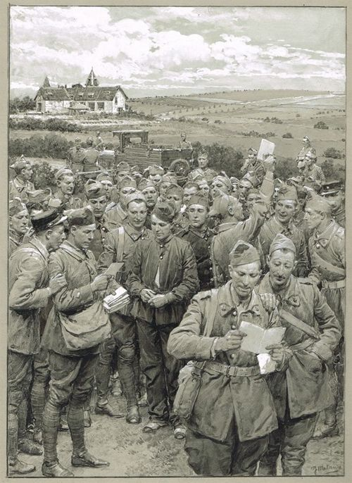 WWI. A French postman delivers mail to the troops, an illustration by Fortunino Matania.