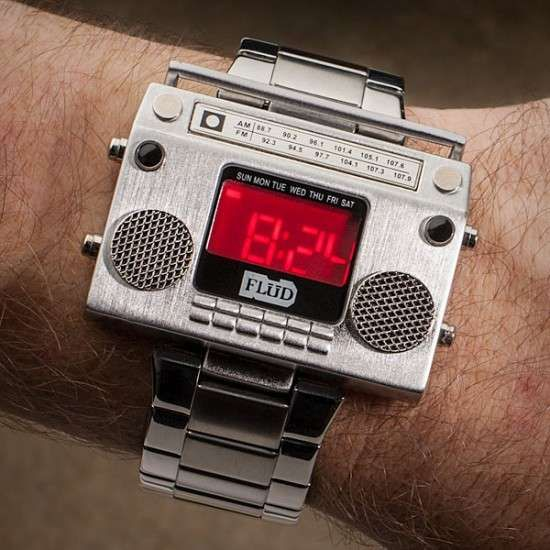 Old School Soundtrack Watches - The Boombox Metal Wristwatch is a Throwback to Retro Beats (GALLERY)