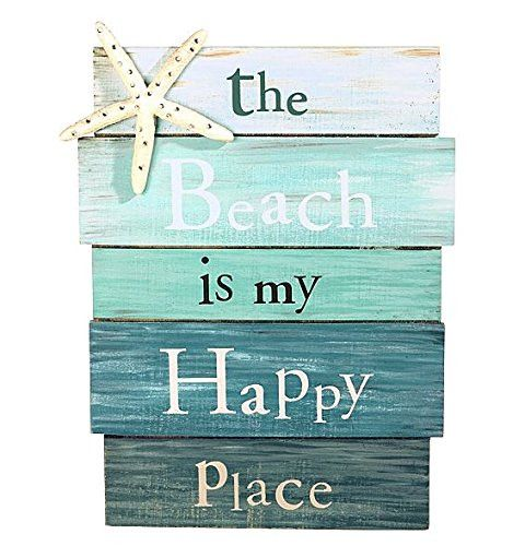 "- Accent your beach house or beach themed decor with this whimsical and carefree decorative sign - Casual lettering spells out ""the Beach is my Happy Place"" on five assembled planks in multiple shades"