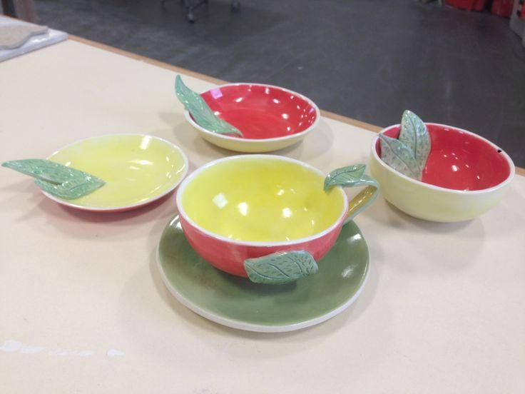 Slip cast plates & bowls with leaf decoration (handmade moulds)