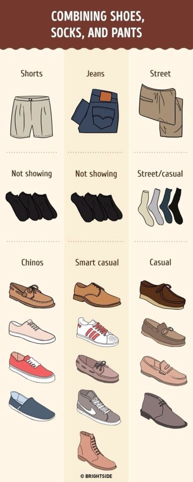 Combining shoes, socks and pants.