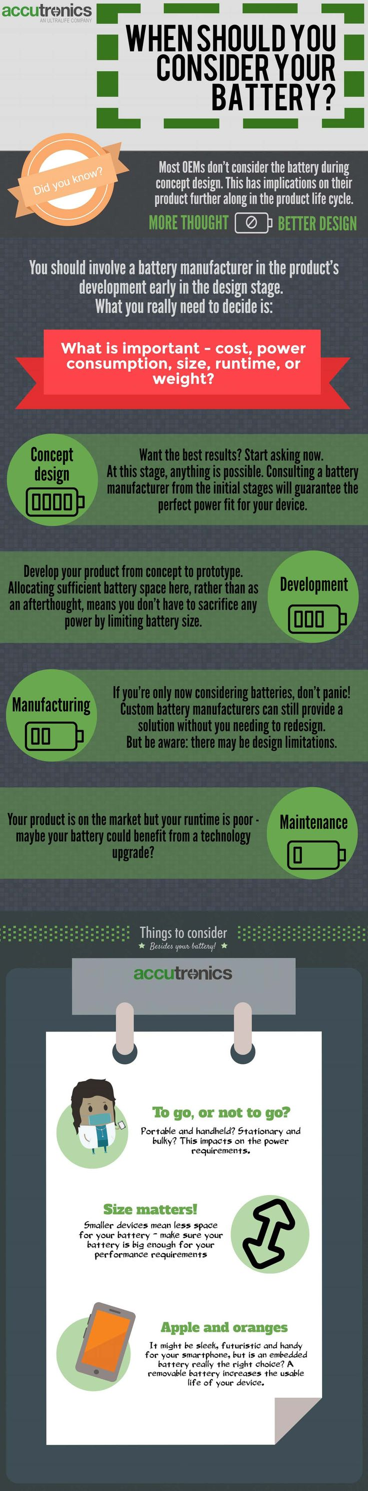 WHEN SHOULD YOU CONSIDER YOUR #BATTERY? Most #OEMs don't consider the #battery during #concept #design.  This has implications on their #product further along in the #productlifecycle. You should involve a battery #manufacturer in the #productdev early in the design stage. What is important - cost, #power consumption, size, #runtime or weight?