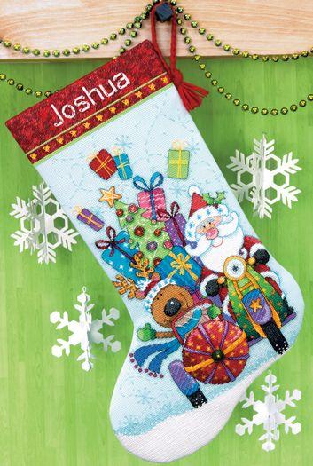 Santa's Sidecar Cross Stitch Christmas Stocking Kit