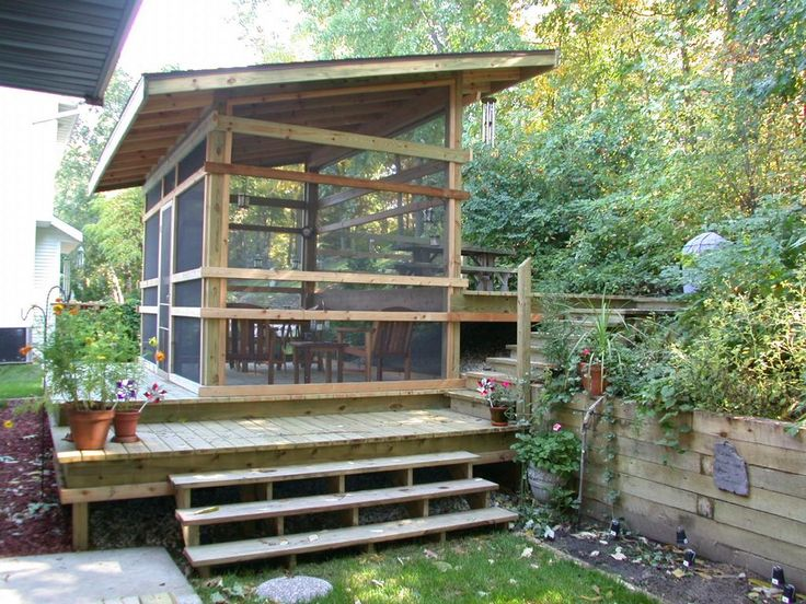 Decoration, Exterior Natural Wood Screened Porch Ideas Feat Step Combine In  Beautiful Exterior : Exterior And Interior Great Decorating Screened Porch  Ideas
