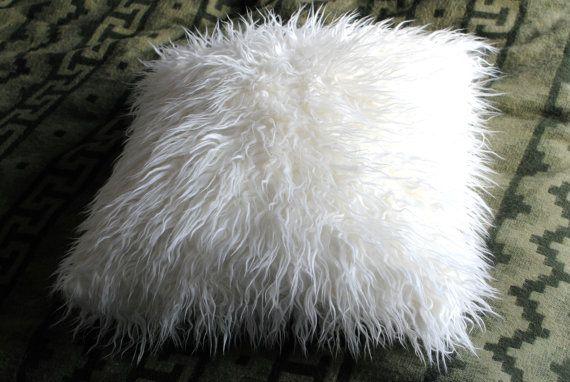 White Faux Fur Throw / Lamb Decorative Pillow / Fluffy Pillow