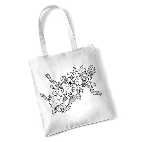 Borsa shopper kawaii, borsa con disegno kawaii, borsa bianca kawaii, borsa con doodle, borsa da donna, borsa per la spesa, borsa da ragazza di FarfallaDorata su Etsy