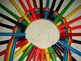 Colored Pencil Wreath..super cute! I, also, love the plain yellow pencil wreath for my classroom door!