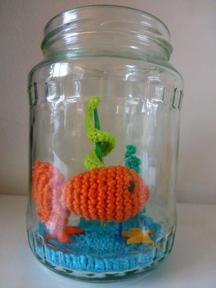 GLITTERTJES: Goudvis haken, gratis patroon, amigurumi, #crochet, free pattern (Dutch), goldfish in a jar