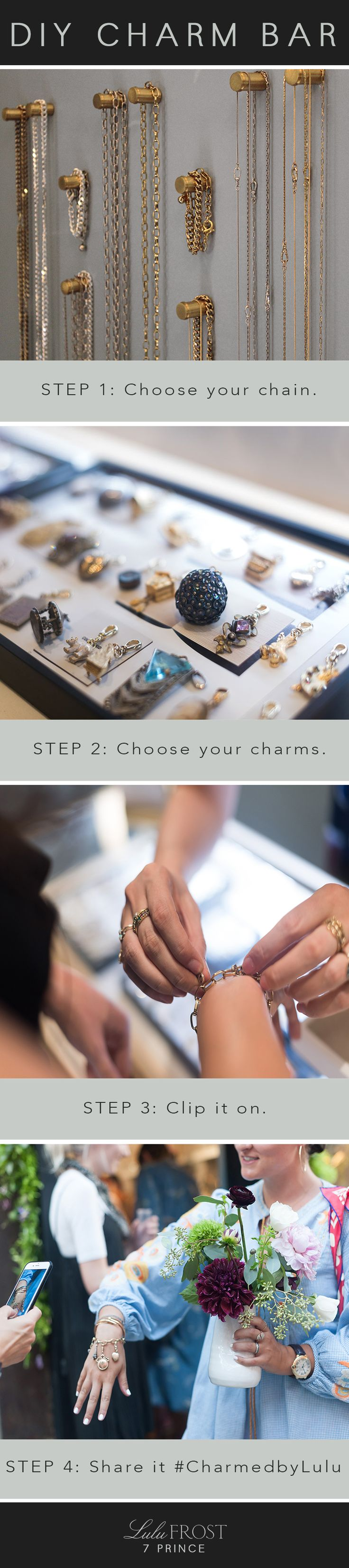 The exclusive DIY Vintage Charm Bar at the Lulu Frost New York City store.