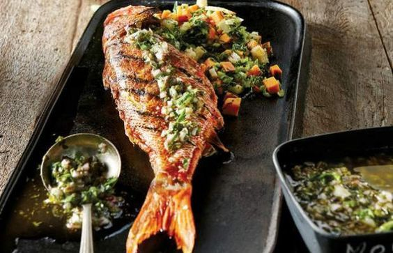 Amazing Portuguese style grilled red snapper with parsley sauce.
