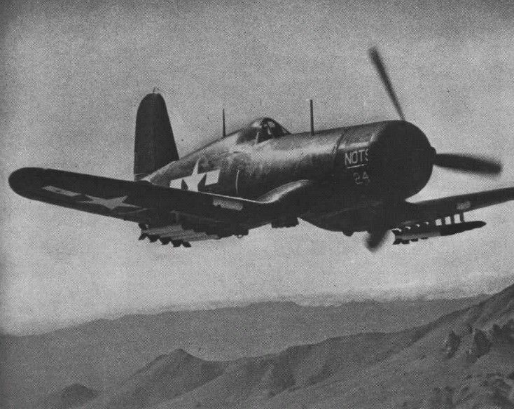 F4U-1D Corsair fighter with HVAR rockets being tested by Naval Ordnance Test Station at China Lake, California, United States, 1945; seen in 15 Apr 1945 issue of US Navy publication Naval Aviation News