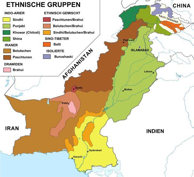 Ethnien Pakistans // Pakistan ethnic map de ◆Pakistan – Wikipedia http://de.wikipedia.org/wiki/Pakistan #Pakistan