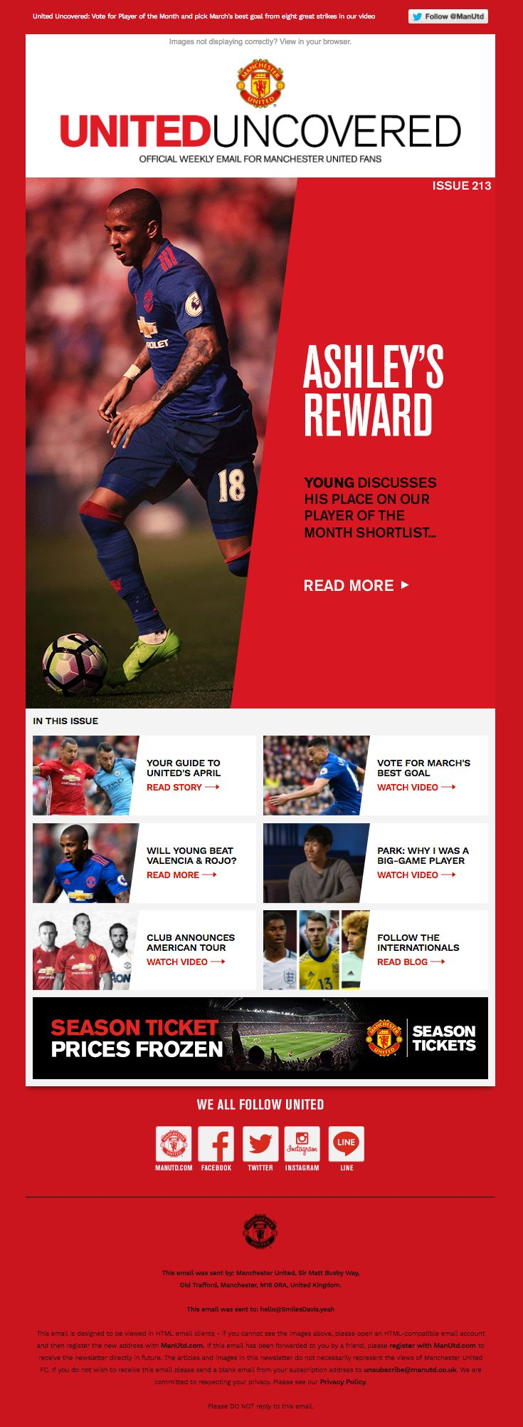 Manchester United sent this email with the subject line: Vote for United's Player and Goal of the Month - Read about this email and find more newsletter emails at ReallyGoodEmails.com #newsletter #sports