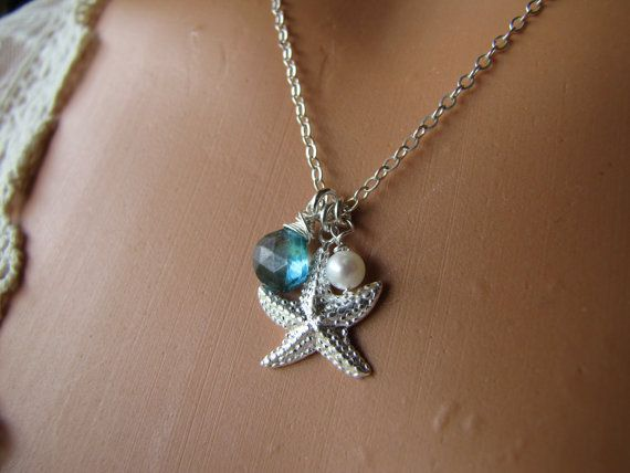 Starfish Necklace Sterling Silver Gemstone Jewelry