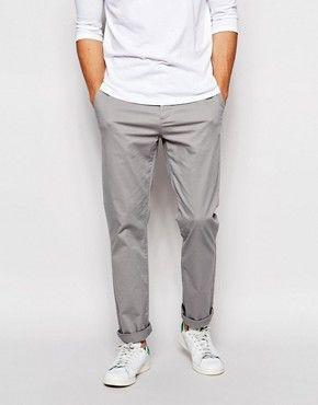 ASOS Straight Chinos In Light Grey