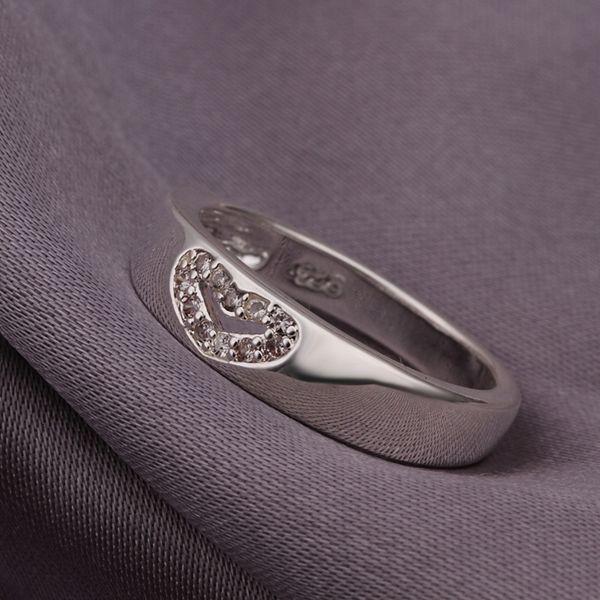 2016 новый Высокое качество посеребренные и штампованные 925 сладкий открытое в форме сердца w кристалл каменные кольца для женщин свадебные украшения