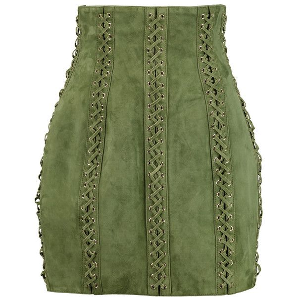 Balmain Lace-up suede mini skirt ($1,060) ❤ liked on Polyvore featuring skirts, mini skirts, army green, balmain, zipper skirt, short skirts, stretchy skirt and short green skirt