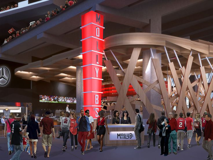 Concentrics—the team behind Atlanta's One Midtown Kitchen and Two Urban Licks—is opening a restaurant at Mercedes-Benz Stadium. Called Molly B's, a nod to Atlanta Falcons and Atlanta United owner Arthur Blank's mother, it will open in the stadium's 100-level concourse this summer.
