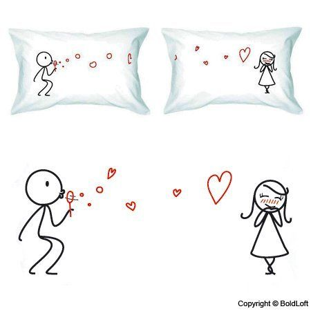 """BOLDLOFT® """"From My Heart to Yours"""" Couple Pillowcases-Cute Couple Gifts,Romantic Anniversary Gifts,Wedding Gifts for Couple,Valentine's Day Gifts,Cute Birthday Gifts,Gifts for Him,Gifts for Her"""