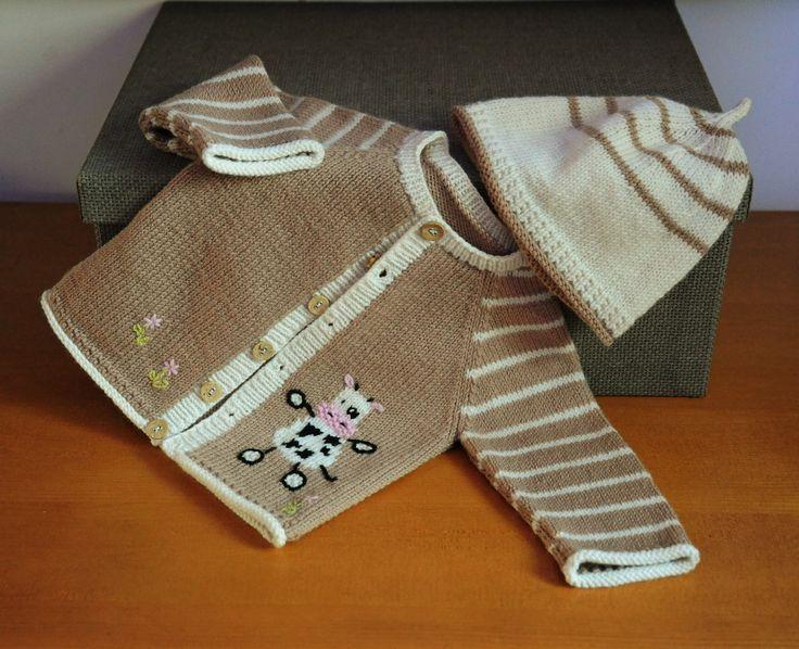 layette ensemble vache 1 mois en laine mérinos neuf tricoté main gilet et bonnet