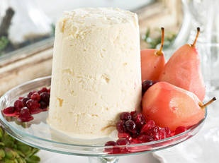 coconut ice-cream with iced cranberry pears