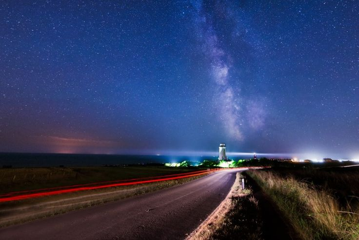 The two lighthouses, Weymouth and Portland, with the Bill under the Milky Way