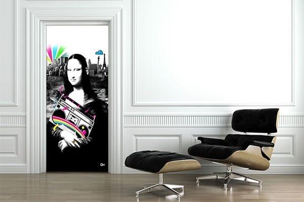 Sticker Porte Mona Lisa par Izoa. Sticker door Mona Lisa by Izoa#MonaLisa #art #design #color #wall