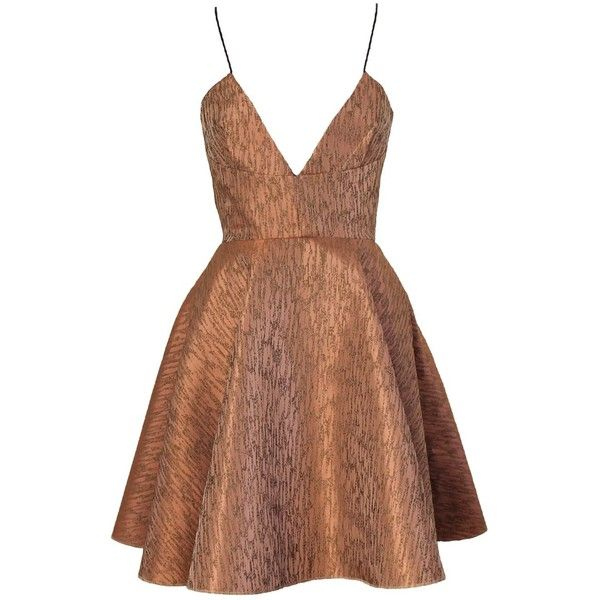 Joana Almagro Vionette Bronze Low Neck and Low Neck Dress ($539) ❤ liked on Polyvore featuring dresses, bronze, short summer dresses, brown dress, stripe dress, high waist dress and backless bustier