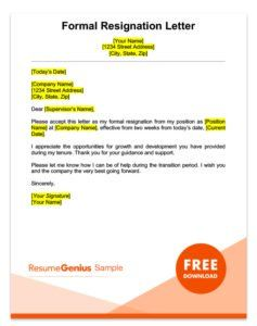 A Formal Two Weeks Notice Resignation Letter Resume Pinterest