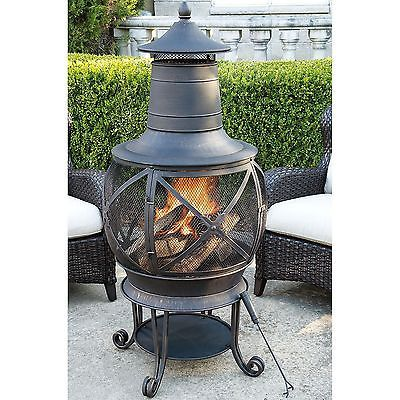 New Hayden Bronze Finish Chiminea Outdoor Wood Burning Fireplace Denver Pick up