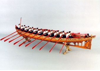 Model no. 3. English 20-Oared Admiral's Barge, c1695-1705. Scale: 3/5in = 1ft-0in (1:20). Large, opulent barges were routinely provided to A...