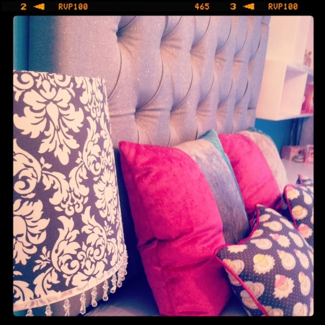 Close-up of custom made cushions, headboard and lampshade that we made/ designed! :)