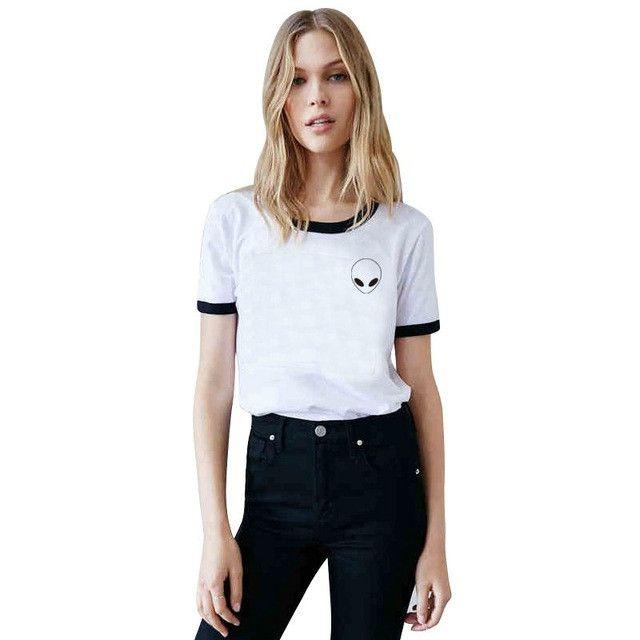 Sea mao Women t-shirt Diversified Alien Pocket Print Casual Short Sleeve Meisjes tshirt Harajuku Style Best Friends t shirt