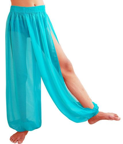 CF SLIT HAREM YOGA GENIE TROUSER PANT BELLY DANCE CLUB COSTUME TURQUOISE OUTFITvc