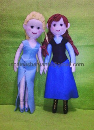 My first experiment; frozen felt dolls