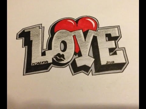 How to draw Graffiti Love