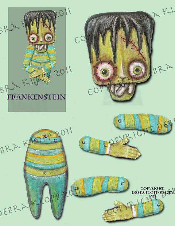 Original Art Frankenstein's Monster Paper Doll Toy E-Printable Shelly Fun Humor Goth