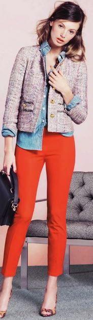 boucle/tweed/ladylike cropped jacket + chambray shirt + coral pants