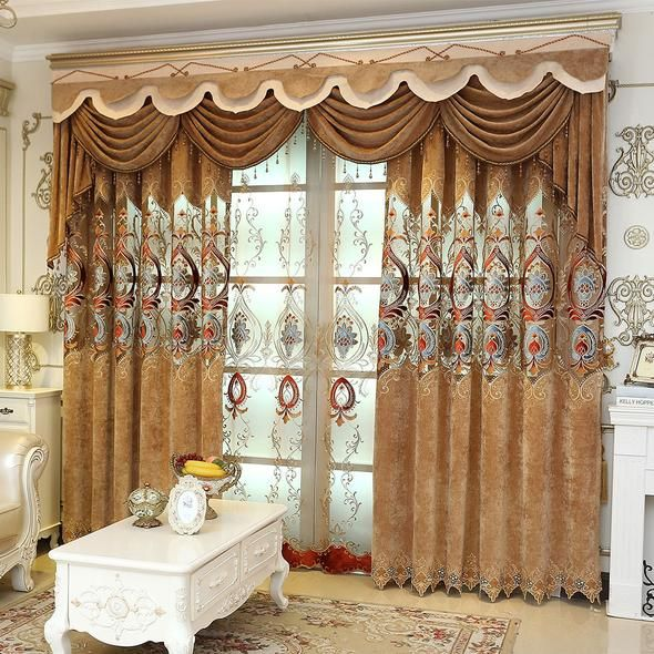 European Brown Valance Embroidered Blackout Curtain For Living