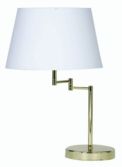 Armada polished brass swing arm table lamp with shade oaks lighting