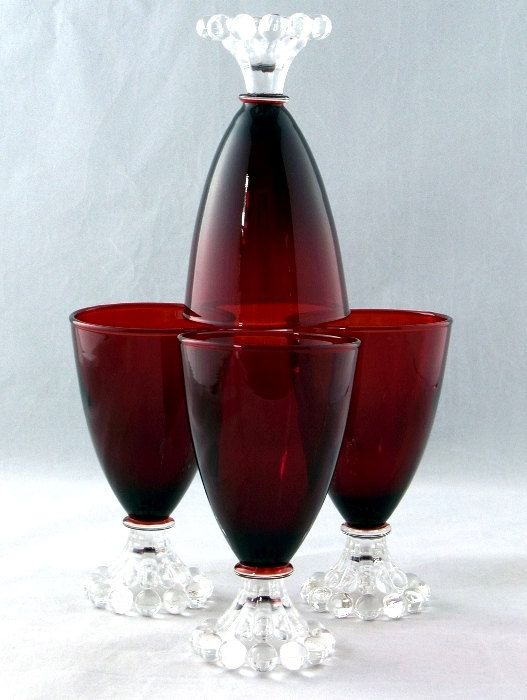 Anchor Hocking - ROyaL RuBY - Stemware aka Bubble, Early American (4)
