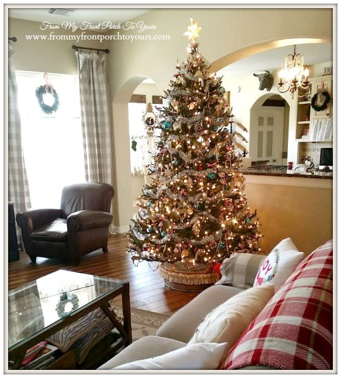 Christmas Tree- Farmhouse Vintage Christmas Living Room- From My Front Porch To Yours