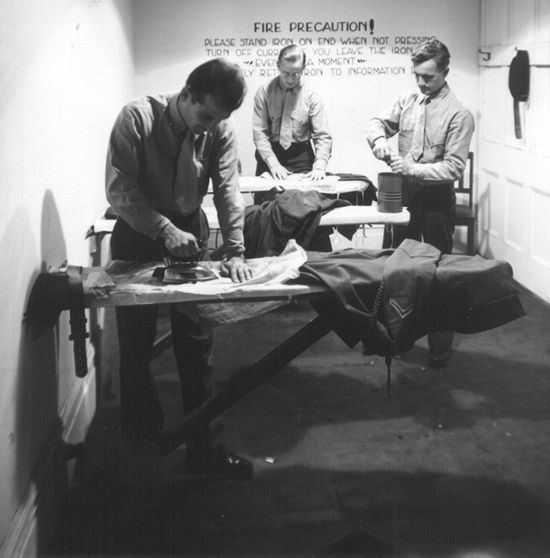 US marines ironing their clothes at the American Red Cross's Cecil Club, Wellington, New Zealand - World War II