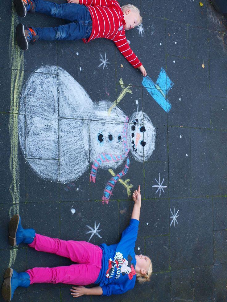 sneeuwpop stoepkrijt
