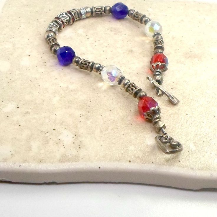 Handmade bracelet sterling USA red white clear crystals sz 6 1/2 Pat2 #Pat2 #StrandString