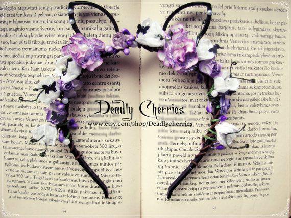 "Elegant Dolly kei , Mori, Pastel Goth artificial flowers fantasy animals ears headband ""Purple Easter Bunny"" on Etsy, $28.45 CAD"