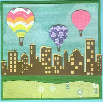 Made with Hot Air Balloon dies and Cityscape Silhouette and Cityscape Nightline dies! by Gretchen